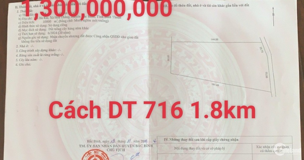 Bán 10,000m đất nông nghiệp hoà thắng cách ĐT716 1.8km gần Bàu Sen Lh 0385230667