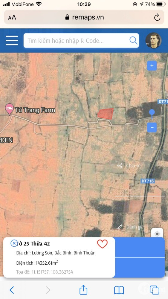 Lô Đất DT 14353m2 Xã Hòa Thắng, Bắc Bình. Khu Dưa Lưới Văn Minh, Cách DT716 500m