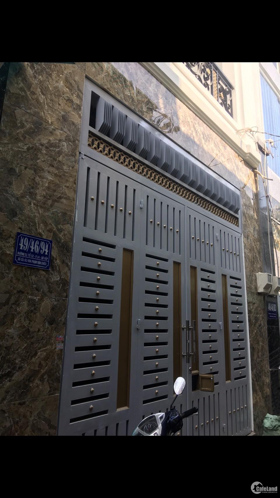 Nhà 1 trệt 2 lầu dt 37m2 đường Phạm Văn Chiêu, P.14, Quận Gò Vấp
