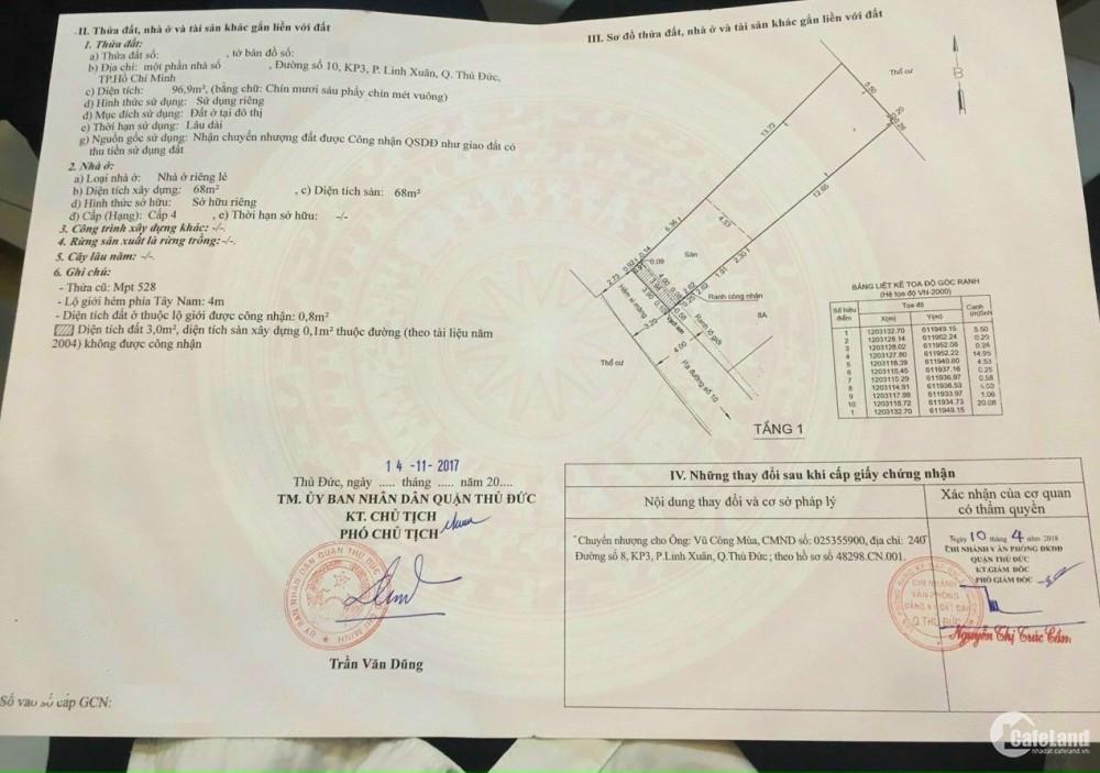 Bán đất tặng nhà hẻm xe hơi chỉ 38 triệu/m2 Rẻ Nhất Linh Xuân. Giá : 3,95tỷ bớt