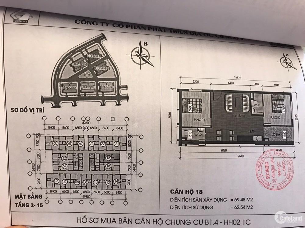 Chính chủ bán căn chung cư tầng 8 tòa HH02 1C Khu đô thị Thanh Hà Hà Đông