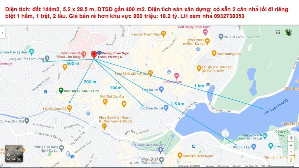 Bán rẻ nhà mặt tiền đường Phạm Ngọc Thạch, Phường 6, Đà Lạt