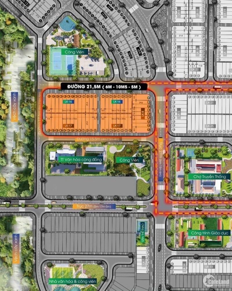 Hot) Đất đường 27m, 108m2, thuộc dự án mới ra mắt, chỉ từ 1t7