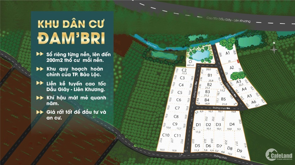 Bán đất nền KDC Dambri Bảo Lộc Lâm Đồng SHR từng nền giá chỉ từ 4,8tr/m2.