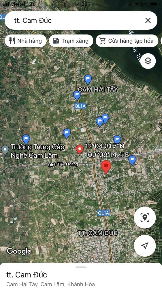 Cần bán nhanh lô đất đường Lý Thái Tổ Thị Trấn Cam Đức,Cam Lâm.LH: 0909277255