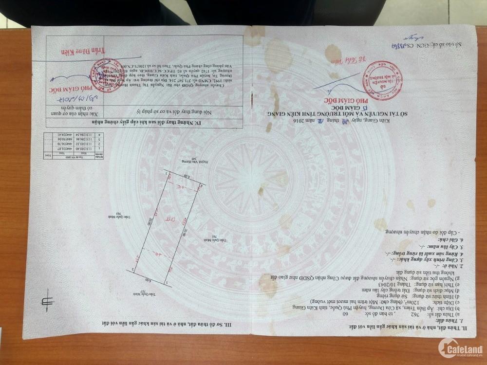 Bán Nhanh Lô Đất 120m2 có 80m2 Thổ Cư Tại Phú Quốc - Giá Đầu Tư