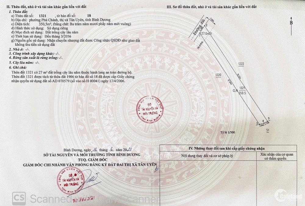 Bán gấp đất Phú Chánh sau lưng BV Nhi sổ sẳn dt 350m giá chỉ 4tr/m2 giá rẻ