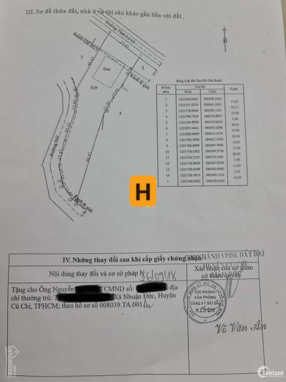 Bán đất có thổ cư - 2 MT - Tỉnh lộ 15 - Nhuận Đức - 2.600m2 – 18 tỷ