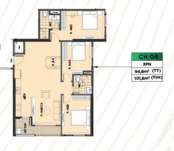 Căn hộ 3PN 101.8m2 rộng nhất cả mặt sàn còn 1 căn duy nhất