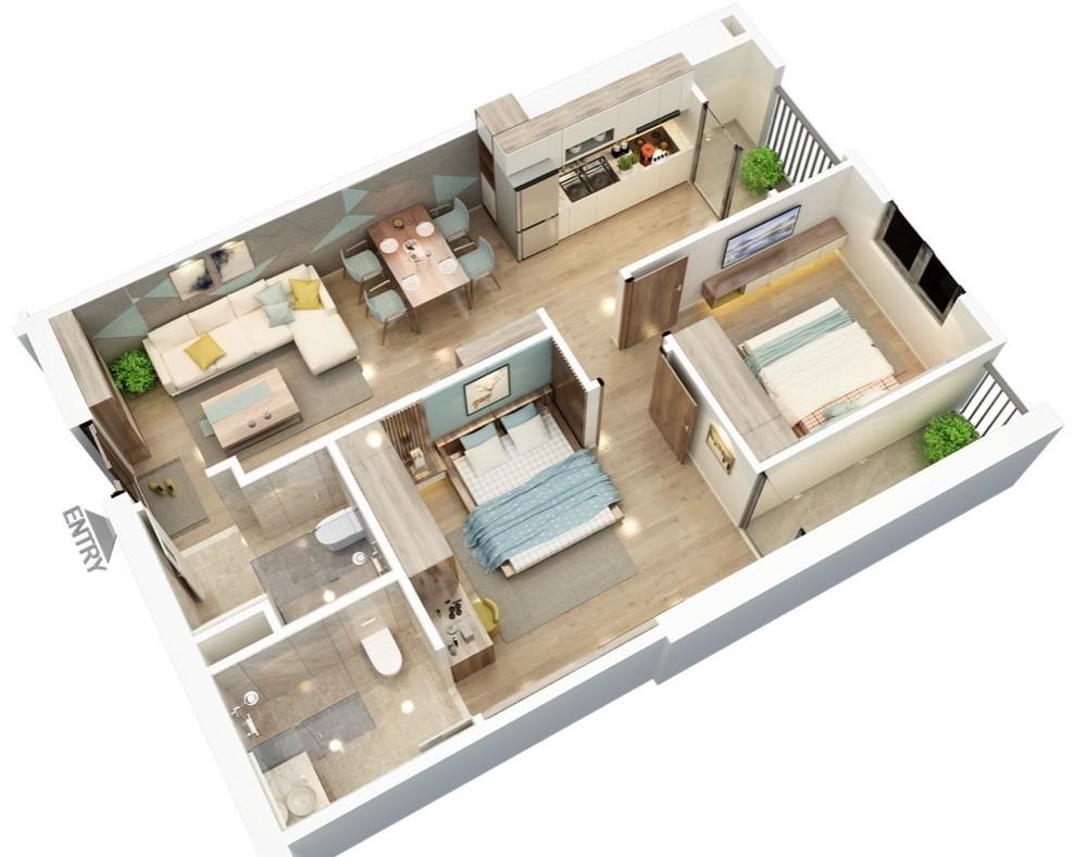 Gia đình cần bán căn 2pn mặt đường Tố Hữu nội thất cơ bản