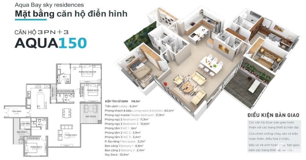 Bán chung cư Ecopark, căn hộ 3 phòng ngủ Aqua150 view đẹp xuất sắc