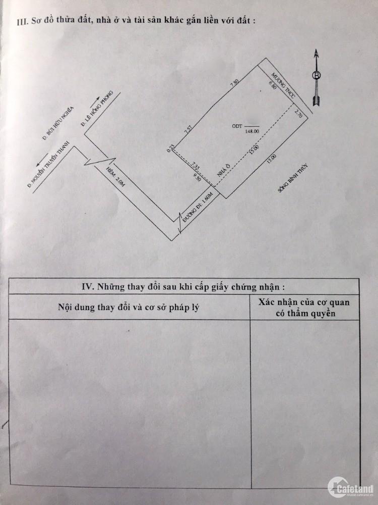 bán nhà củ chỉ tính đất 148m2 ODT Chợ Bình Thủy TP cần Thơ,