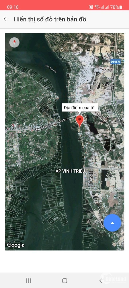 Bán đât ven đầm Thủy Triều Cam Hải Đông huyện Cam Lâm giá đầu tư 12.6 triệu/m2.