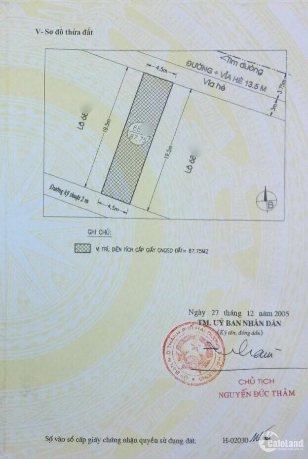 Bán đất mặt phố Đông Nam Cường, TP HD, 175.5m2, mt 9m, đường 13.5m, giá đầu tư,