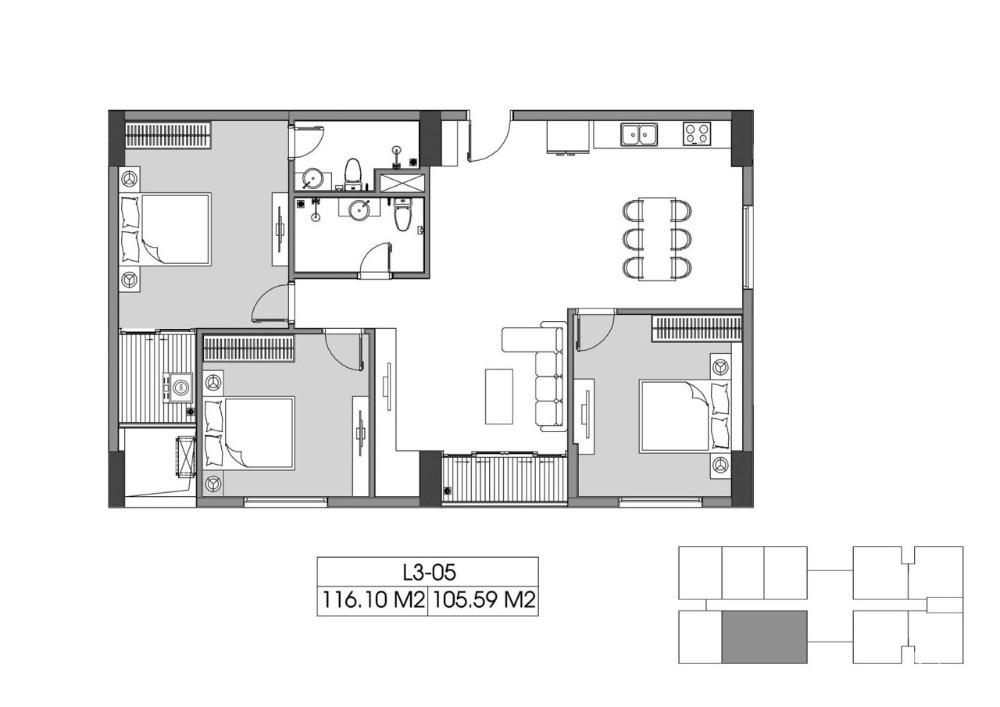 Ở rộng sống sang sống chất lượng - căn 3PN 105m2 - tầng trung view bể bơi