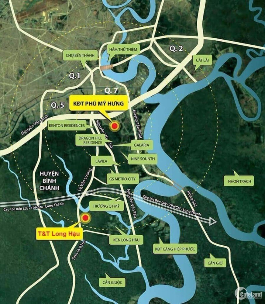 Đất nền Long Hậu 267ha, Cách PM Hưng 19 phút, Cách Nguyễn văn Tạo 5 Phút.