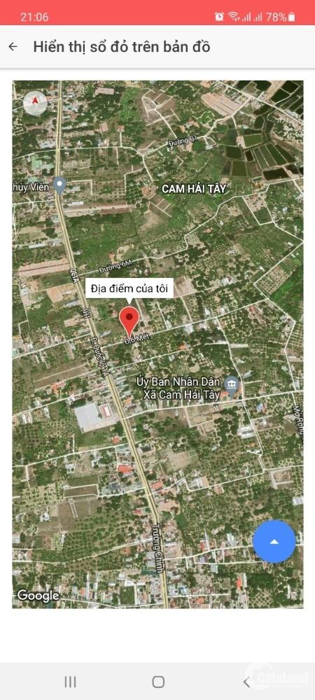 4.7 triệu/m2 với nền diện tích 1928m2 đất xã Cam Hải Tây huyện Cam Lâm.