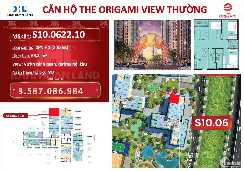 Căn hộ The Origami 2PN 59.1m2 giá gốc 3.033 tỷ, giao nhà 01/2022