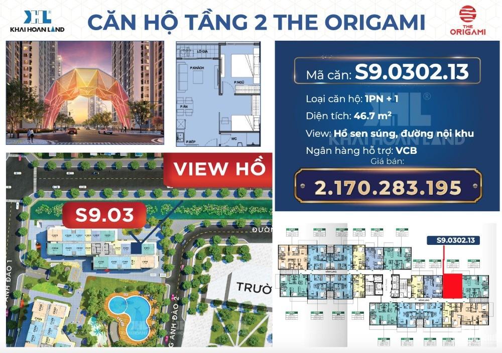 Căn hộ 1PN+1 46.1m2 The Origami giá gốc 2.135 tỷ, giao nhà 02/2022 HT vay 100%