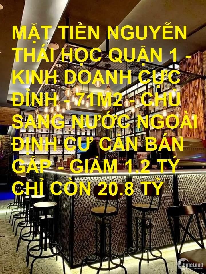 Bán nhà mặt tiền Nguyễn Thái Học Quận 1 71m2 giảm 1.2tỷ chỉ còn 20.8tỷ