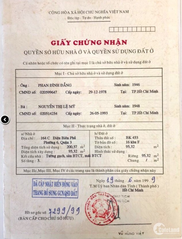 Bán nhà 164 C- D Điện Biên Phủ, P 6, Quận 3, 200m2, 89 tỷ - 0933644449