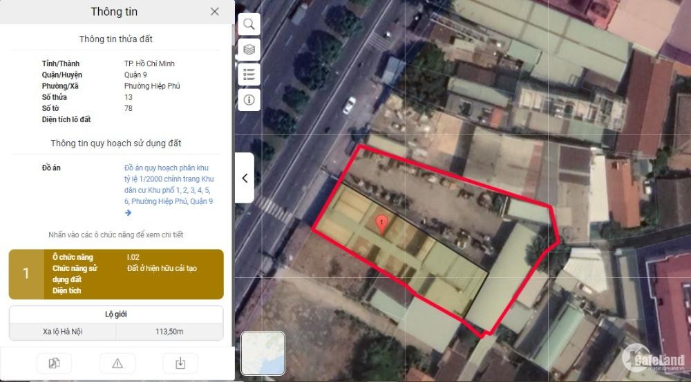 1756m2 đất mặt tiền đường Song Hành Hà Nội phường Hiệp Phú Tp. Thủ Đức