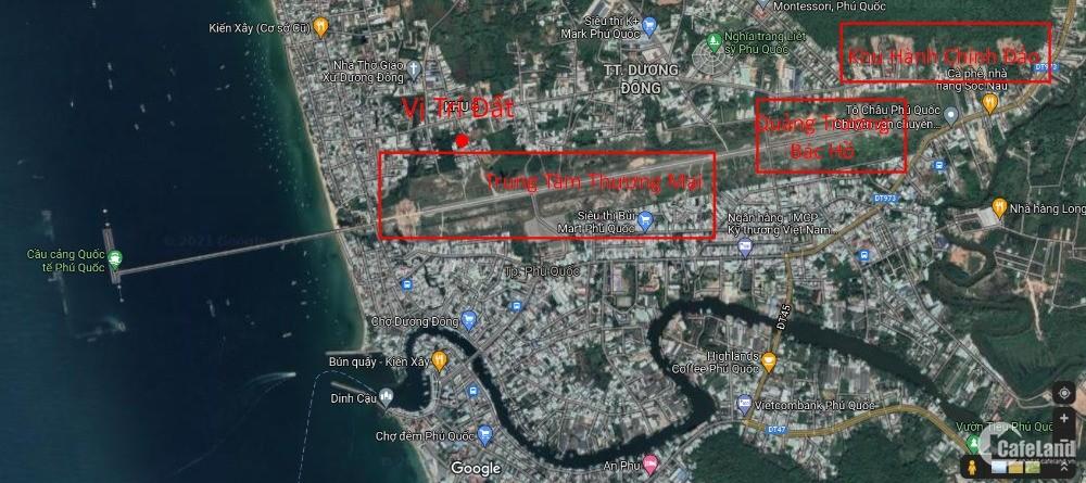 Bán mảnh đất xây cao tầng cách TTTM Sân Bay Cũ 120m trung tâm đảo Phú Quốc