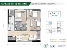 Bán căn góc 3PN dự án Harmony Square.Giá chỉ từ 3,3 tỷ.NH hỗ trợ LS 0%, CK 3%