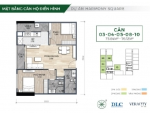 Bán căn hộ 2PN Harmony Square.Full nội thất, giá chỉ từ 2,9 tỷ/căn. CK tới 5%